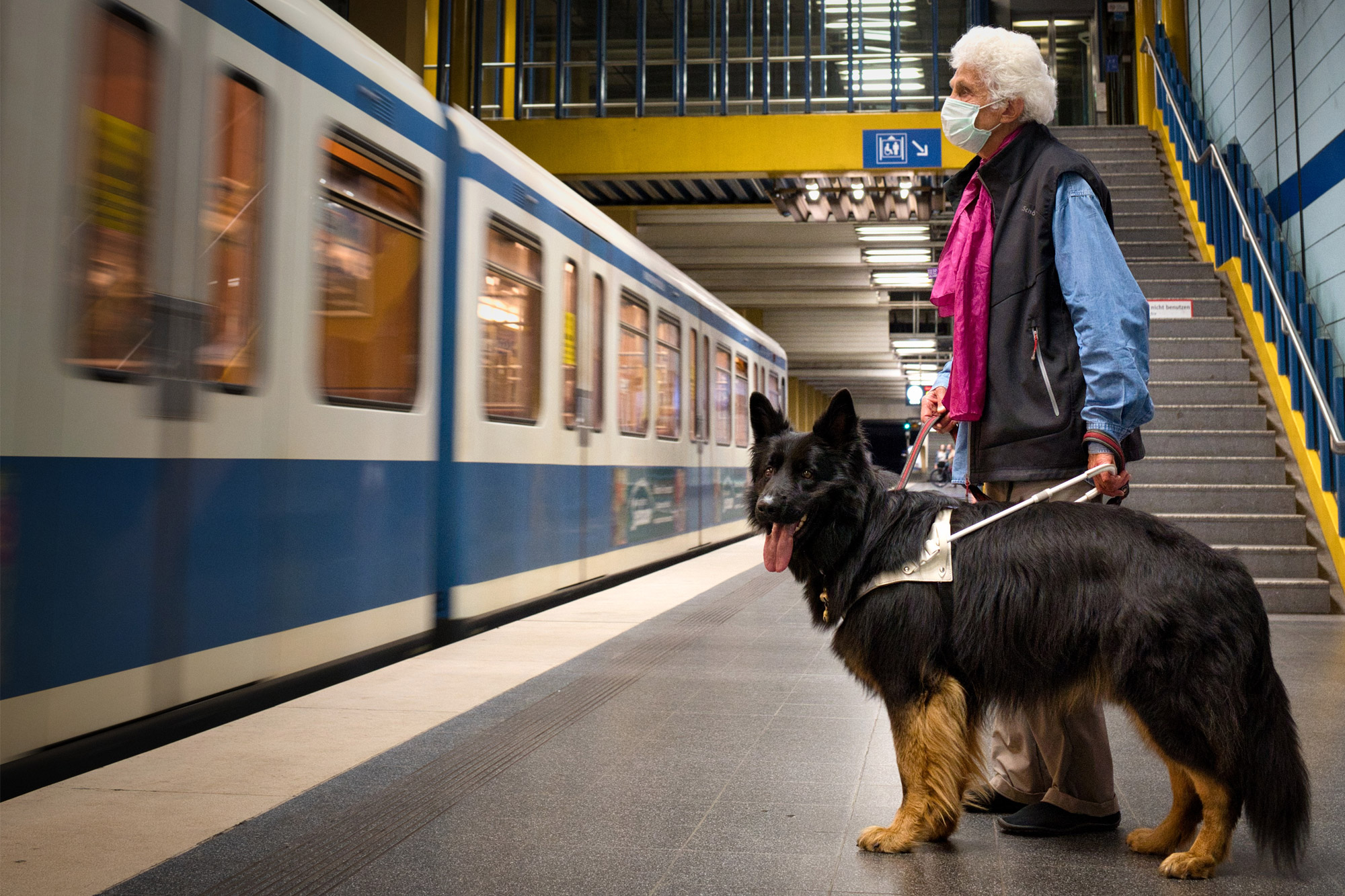Blinde mit Führhund wartend am Bahnsteig